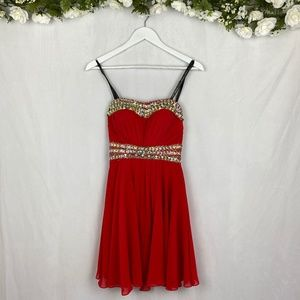 Princess Collection Red Beaded Strapless Dress